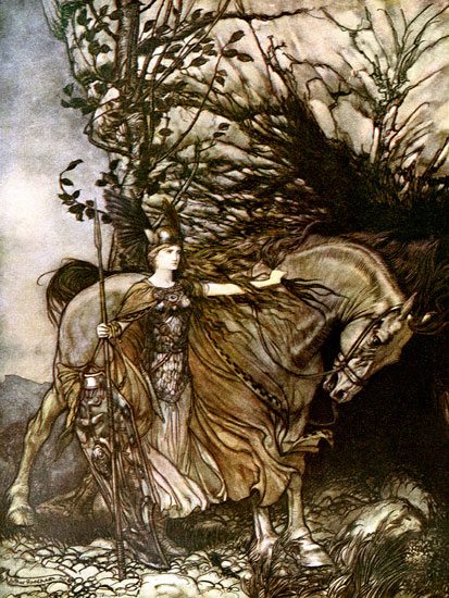 Br�nnhilde and Her Horse, Ring of the Valkrie, Rackham (12X16)
