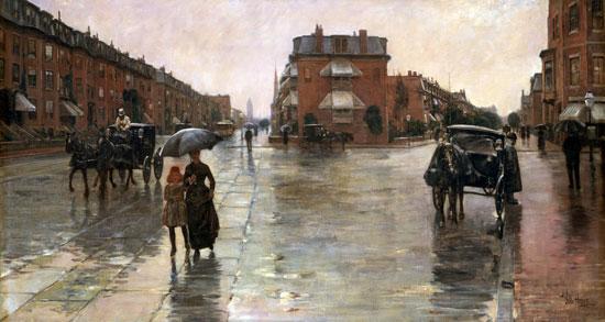 Rainy Day in Boston -, Hassam (16X30)