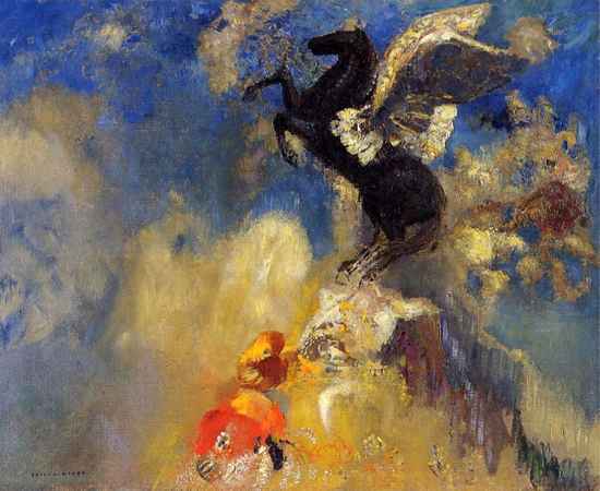 Black Pegasus, Odilon Redon (18X22)