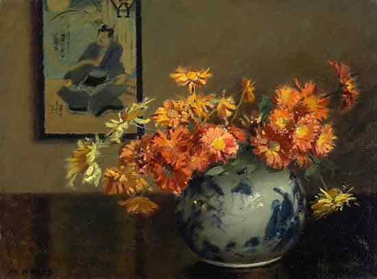 Chrysanthemums, A Japanese Vase Arrangment,  Mary Hiester Reid