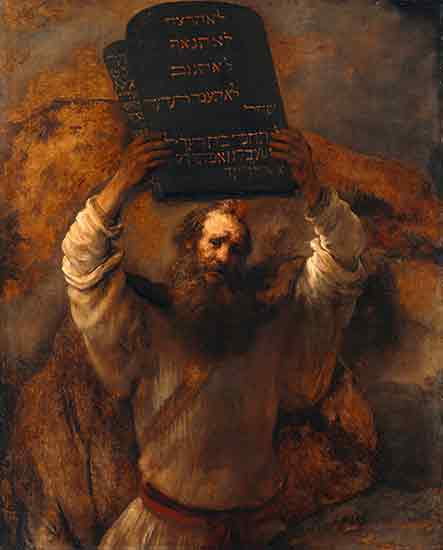 Moses with the Ten Commandments, Rembrandt