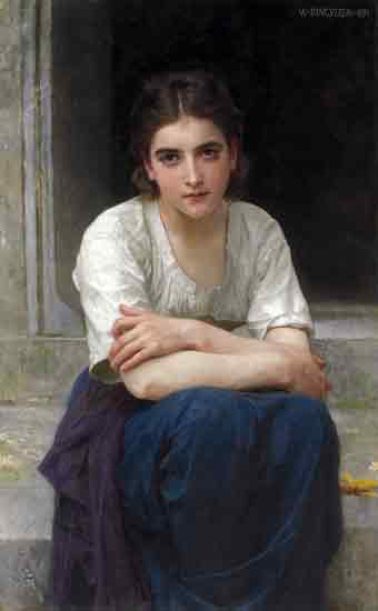 Reverie on the Threshold. Bouguereau (22X35.5)