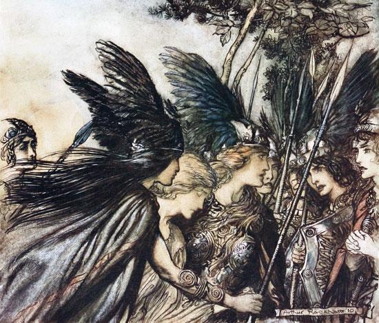 Rhinegold and the Valkyrie,  Arthur Rackham