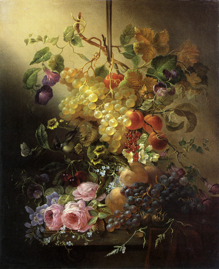 Flowers and Fruit, Jean Baptiste Robie (22x27)