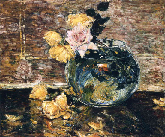 Roses in a Vase, Childe Hassam (18.4X22)