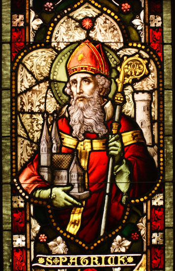 Saint Patrick , stained glass window)