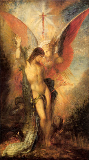 Saint Sebastian and the Angel, Gustave Moreau (19x34)