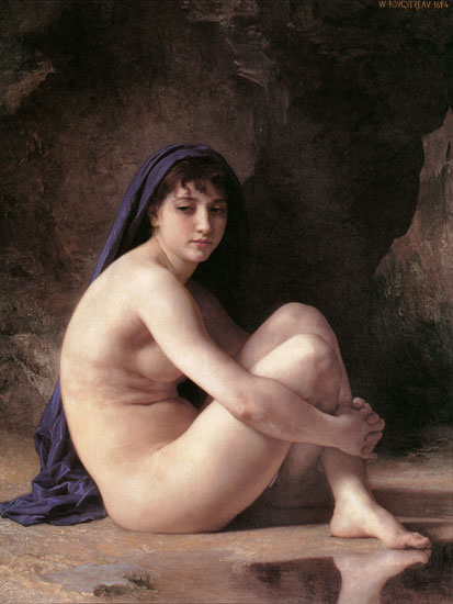 Seated Nude, William-Adolphe Bouguereau (16X25.5)