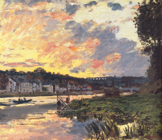 The     Seine at Bougival in the Evening, Claude Monet (22X25.5)