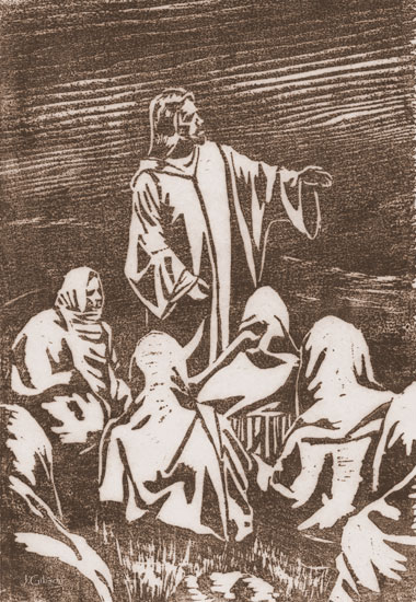 Sermon on the Mount, Woodcut, Joyce Gibson