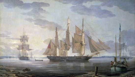 Ships in Harbor, Salmon (24X42)