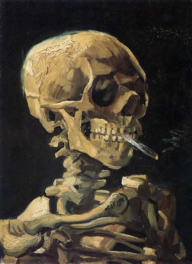 Skull with a Cigarette, van Gogh (16X22)