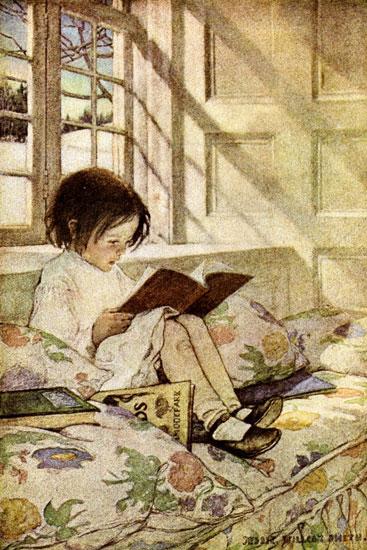 Child Reading, Jessie Willcox Smith (13.5x20)