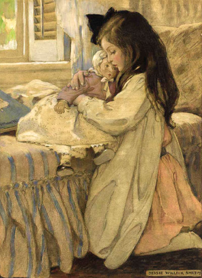 Girl with Doll, Jessie Willcox Smith (14.6x20)
