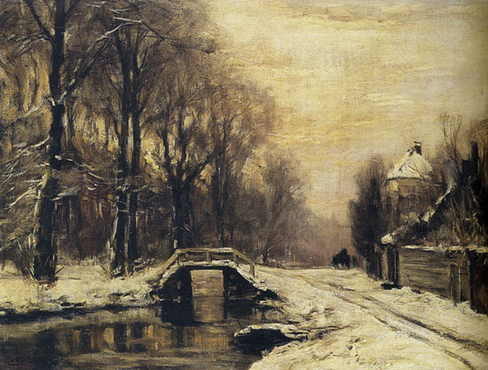 A Snow Covered Forest with a Bridge Across a StreamLouis, Apol (5.3X7)
