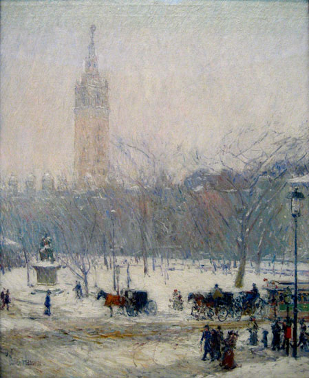 Snow Storm, Madison Square, Hassam (22X27)
