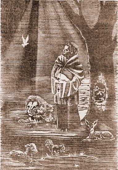 Saint Francis Woodcut (12X16.5)