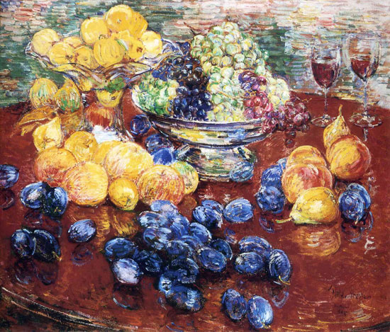Still Life with Fruits, Childe Hassam