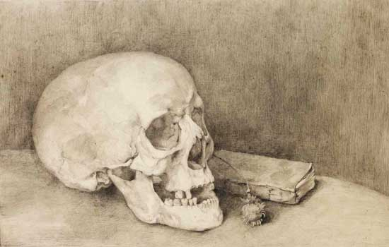 Still Life with Skull and Book, Jan Mankes