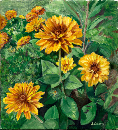 Summer flowers i joyce gibson 10 x11 print on canvas 55 00