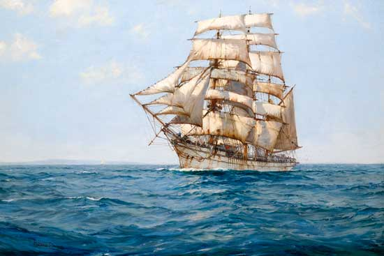 The Cold White Barque,  Montague Dawson