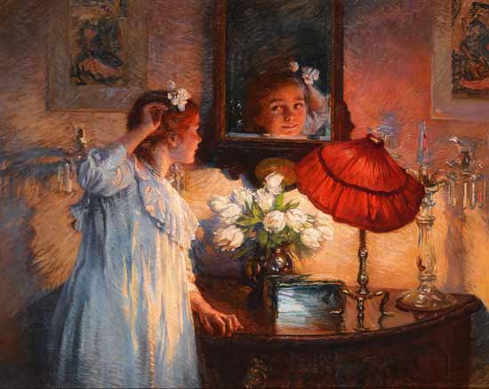 The Mirror , Albert Chevallier Tayler