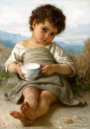 The Cup of Milk, Bouguereau (16X23)