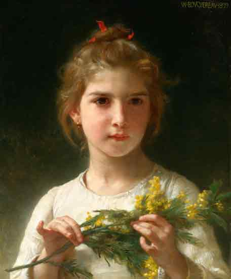 The Mimosa Flower, Bouguereau (22x26.5)