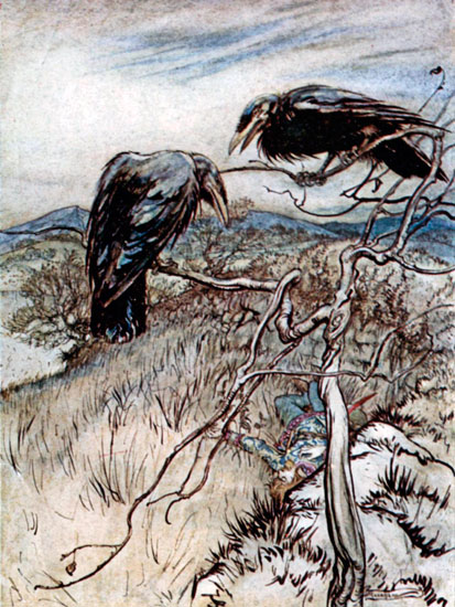 Two Corbies, Arthur  Rackham (12X16)
