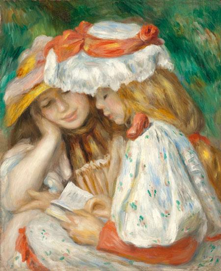 Two Girls Reading, Pierre Auguste Renoir (18x22)