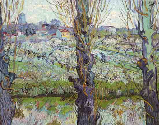 View of Arles Flowering Orchards, Vincent van Gogh (22X28)