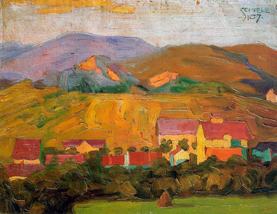 Village with Mountains, Egon Schiele (17X22)