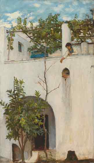 Lady on a Balcony, Capri, Waterhouse (19.75 X 34)