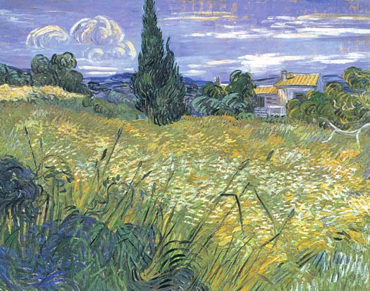 Wheat Field with Cypress,  Vincent van Gogh