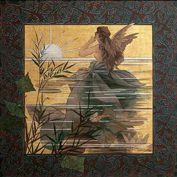 Winged Nymph at Sunrise, Alexandre de Riquer