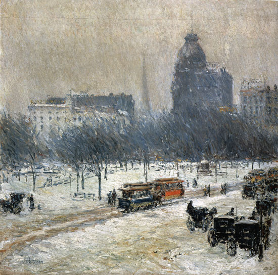 Winter in Union Square, Hassam (22X22.25)