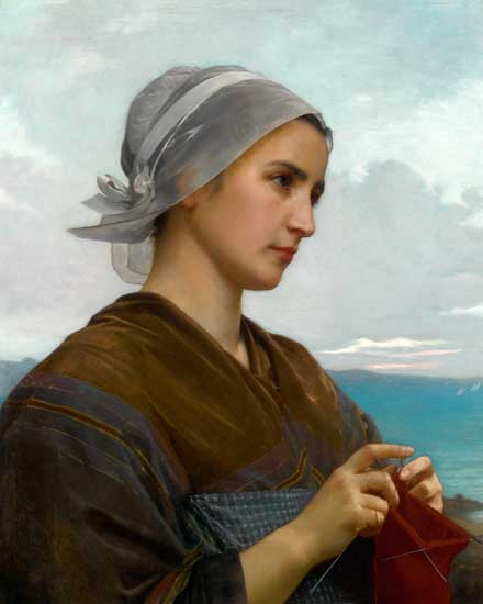 Woman Knitting, Bouguereau (16x20)