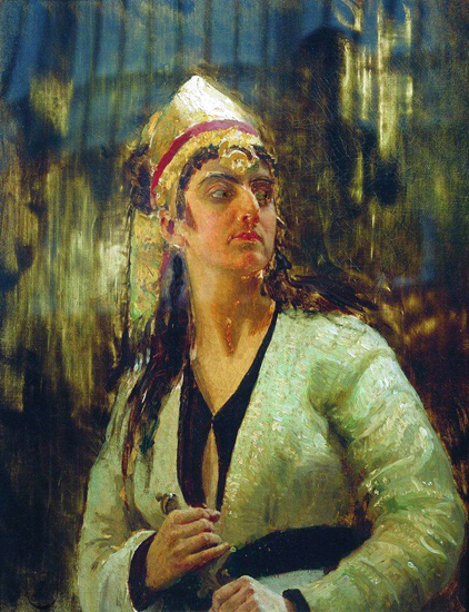 Woman With a Dagger, Ilya Repin (16X28)