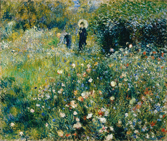 Woman with a Parasol in a Garden, Auguste Renoir (22x26)