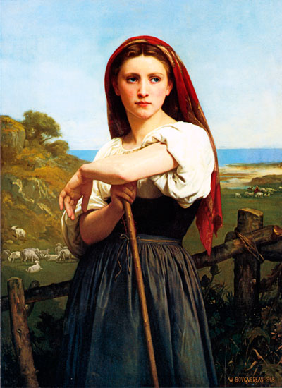 Young Sheperdess, 1868, William-Adolphe Bouguereau (16X22)