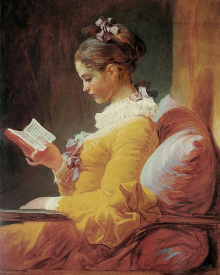 Young Girl Reading, Jean-Honor� Fragonard (16X20)