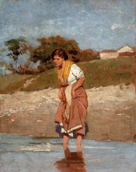 Young Girl StandingIn the Water, Eugene von Blaas  (18X22)