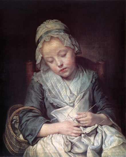 The Young Knitter, Greuze (16X20)