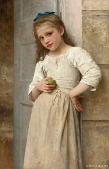 Yvonne on the Doorstep, Bouguereau (22X34)
