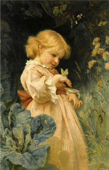 Girl with Butterfly, Hans Zatzka (16X22)