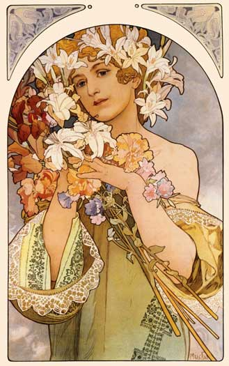 Flowers, Mucha (16X25.5)