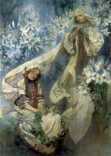 Madonna of the Lilys, Mucha  (16X22.5)