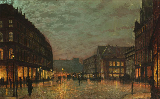 Boar Lane, Leeds by Lamplight