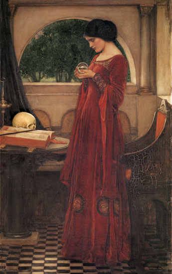 The Crystal Ball,Skull.John William Waterhouse