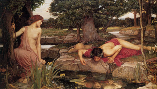 Echo and Narcissus, Waterhouse (16X28)